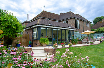 Rear extension with sliding folding doors